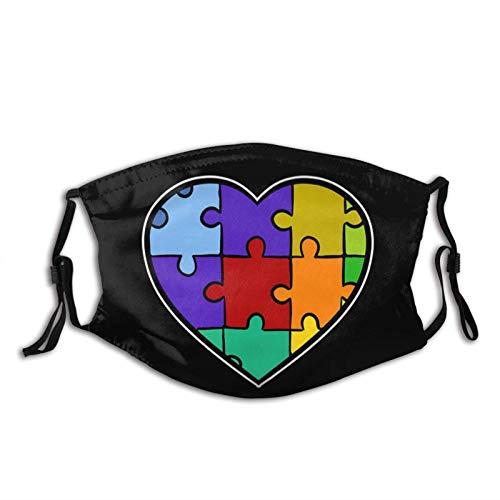 Autismo Puzzle Heart Down Syndrome Trisomie Máscara facial reutilizable lavable bufanda anti polvo Bandanas para mujeres hombres con 3 filtros