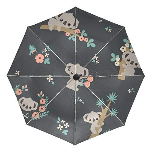 Wamika Regenschirm, süßer Koala-Posen Klettern, automatischer Regenschirm mit Tiermotiv, Winddicht, wasserdicht, UV-Schutz, 3-Fach faltbar, automatisches Öffnen/Schließen, für Sonne und Regen