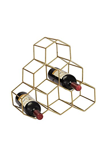 Elk Home Angular Study Hexagonal Wine Rack, Gold