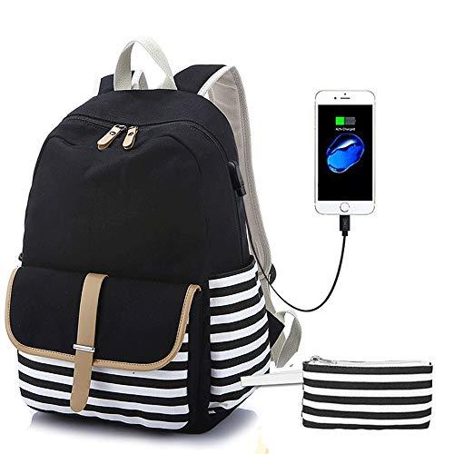 ZQY rugzak met USB-poort canvas gestreepte rugzak schattig tiener dagelijks casual tas meisje jongen schooltas laptop tas Zwart