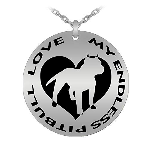 My Endless Pitbull Love Necklace Laser Engraved Pendant - Silver Stainless Steel Plated - - Laser Engraved Pendant – Pet Loss Memorial Gift - Made in U.S.A.