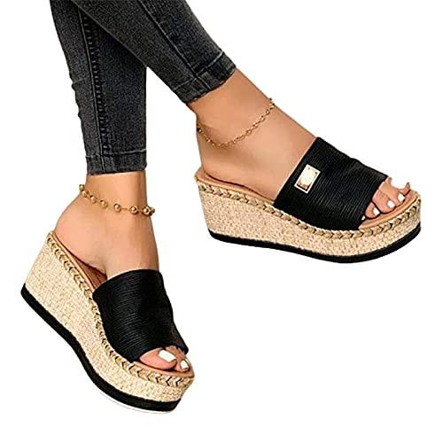 HUAJIE Sandalias con Plataforma para Mujer Cuero Cómodos Zapatillas De Playa Verano Plataforma Sandalias De Cuña Cojín Suela Antideslizante Zapatos De Playa,Negro,35