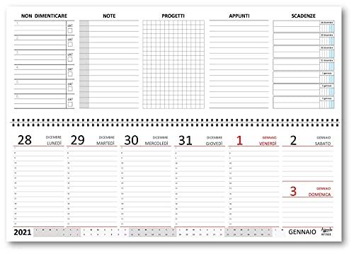 Planning agenda da tavolo settimanale spiralato con note ed appunti vari (carta 90 gr) 10x30 CM - 2021