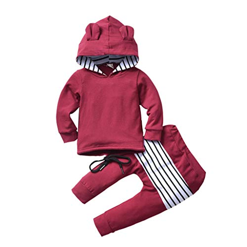 Kleinkind Outfits Set Baby Jungen Mädchen Kapuzenohren Hoodie Sweatshirt + Streifenhose Bekleidungsset, Rot, 2-3 Jahre