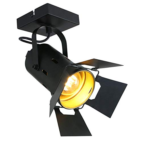 VINTAGE Decken Leuchte Dielen Studio Strahler Lampe schwarz-gold Spot verstellbar Steinhauer 7996ZW