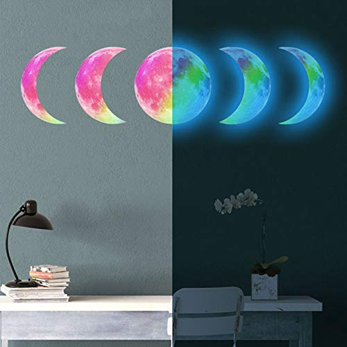 5Pcs Glow in The Dark Wall Ceiling Moon Phase 30cm Sticker, AUHOTA Decal Stickers for Lunar Phases Bright at Night, Removable Adhesive Mural Wallpaper for Kids Girl Bedroom Gift (Blue)