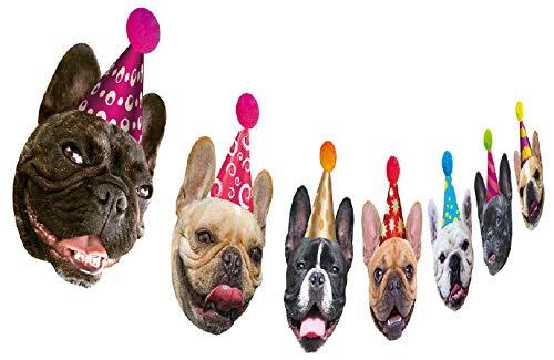Dog Birthday Garland, Funny French Bulldog Face Portrait Birthday Banner, Bday Bunting Decoration