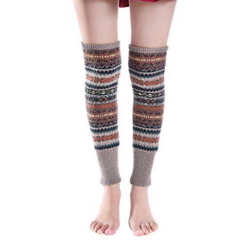 Winter Fall Warm Long Boot Socks Indoor Dance Yoga Leg Warmer Chic Knitting Crochet Loose Socks Leg Sleeves for Elder Women Girls, Chrirstmas Gift