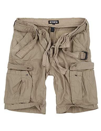 riverso Herren Cargo Shorts RIVFynn Kurze Hose Vintage Bermuda Gürtel 100% Baumwolle S - 7XL, Größe:XL, Farbe:Beige (74)