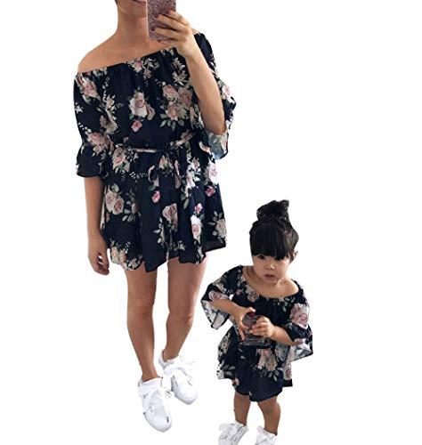Loalirando Schönes Mutter Tochter Blumenmuster Kleider Sommer Matching Outfits Familien Kleidung Prinzessin Kleid (S, Mama)