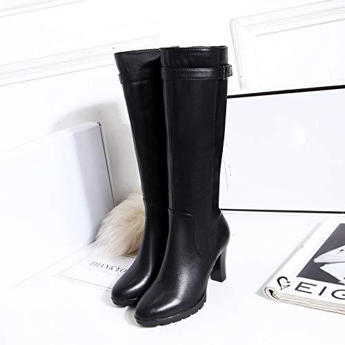 Shukun enkellaarzen Sneeuw Winter Dames Laarzen Ronde Hoofd Pu Hoge Hakken Laarzen Women'S Dik Met Waterdicht Platform Hoge Verdikking Women'S Boots