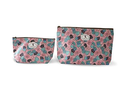 Lot de 2 pochettes Fleuries ( tailles différentes) Tissu Plastifié solide durable et imperméable (Feuilles Vertes)