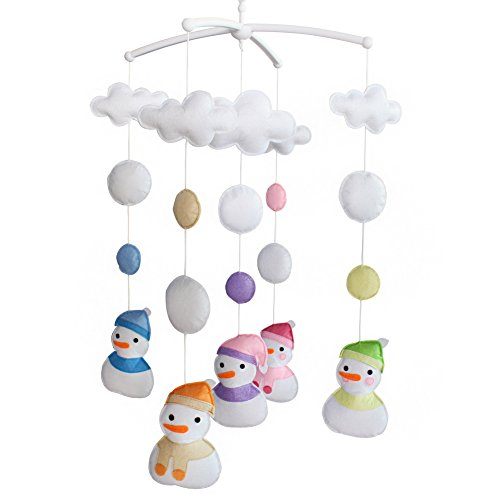 Berceau de lit de bébé rotatif coloré jouets de bébé [Bonhomme de neige d'hiver]