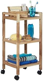 Relaxdays Estantería sobre Ruedas, Asas, Giratorio, Tres estantes, Madera, Marrón, 71,5 x 35 x 31 cm baño
