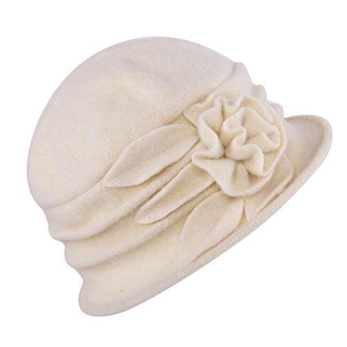 West See Damen Vintage Wolle Cloche Bucket Hut Beret Topfhut mit Blumendetail Wintermütze (beige)