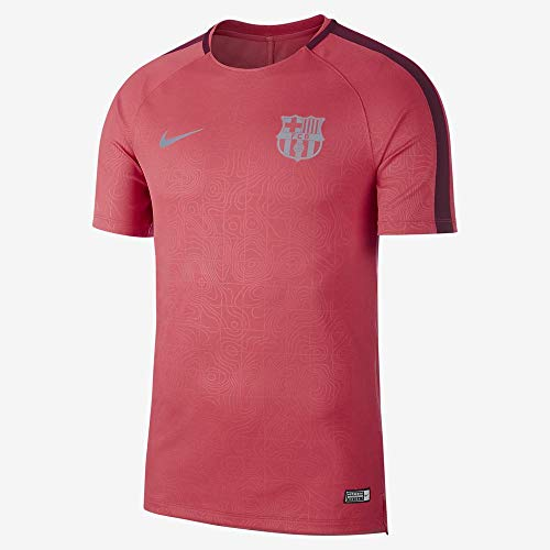 NIKE FC Barcelona Dry Squad Camiseta, Rosa Tropical Deep Maroon/Reflective Silver, Extra-Large para Hombre