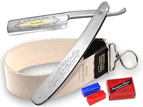 Rasiermesser mit Goldätzung Set mit Schleifpasten und Streichriemen aus Solingen