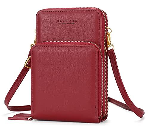 AIEOE Crossbody bolsa de teléfono para las mujeres monedero de teléfono celular bolsa de hombro ligero bolsos bolsos, Rojo, L, balconcito