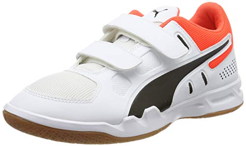 Puma Unisex-Kinder Auriz V Jr Sneaker, Weiß White Black-NRGY Red-Gum, 38 EU