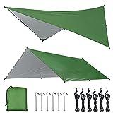 OTraki Zeltplane 3x3m Tarp für Hängematte Zeltplane Wasserdicht mit Ösen Ultra-Leicht Sonnenschutz UV Schutz Regenschutz Multifunktionales TarpTent für Camping, Wandern, Outdoor-Aktivitäten