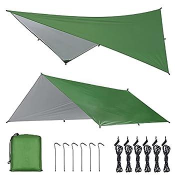 OTraki Bâche Anti-Pluie 3m x 4m Abri de Randonnée Bâche de Hamac Tarp Rain Fly Toile de Tente Imperméable Parasol Portable Léger Bâche de Camping pour Picnic Backpacking Camping