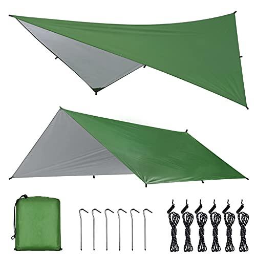 OTraki Zeltplane 3x4m Tarp für Hängematte Zeltplane Wasserdicht mit Ösen Ultra-Leicht Sonnenschutz UV Schutz Regenschutz Multifunktionales TarpTent für Camping, Wandern, Outdoor-Aktivitäten