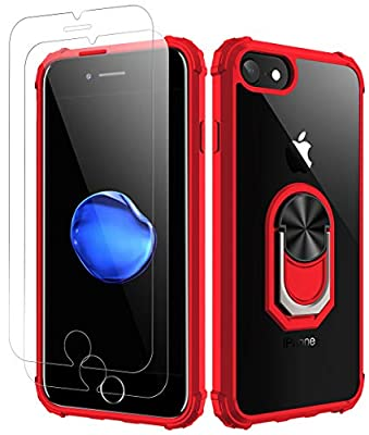 iPhone 7| iPhone 8 Case, [ Military Grade ] with [ Glass Screen Protector] 15ft. Drop Tested Protective Case | Kickstand | Compatible with Apple iPhone 8/ iPhone 7 -Red
