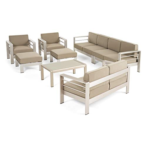 Christopher Knight Home Emily Coral Outdoor Aluminum 8-Seater Sectional Sofa Set with Coffee Table and Ottomans, Silver and Khaki