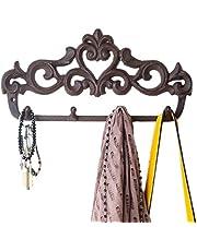 Comfify Gietijzeren wandhanger - vintage design met 5 haken, sleutels, handdoeken, enz. - wandmontage metaal, zwaar werk, rustiek, vintage, decoratief cadeau-idee