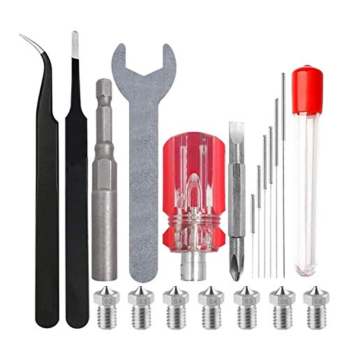 Impresora 3D Boquilla Kit y Kit de Limpieza con Llave y Destornillador Pinzas for Anet A8, Creality CR-10, copiadora, Impresora 3D Boquilla XIAO DIAO