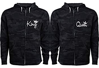 King Queen Jackets for Couples - His and Hers Jackets - Couple Black Camo Men X-Large Women X-Large