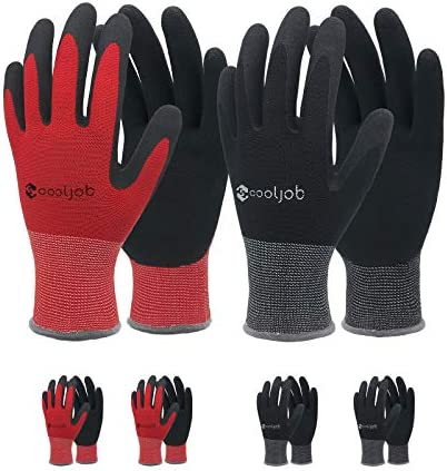 COOLJOB Gardening Gloves for Men 6 Pairs Breathable Rubber Coated Garden Gloves Work Gloves product image