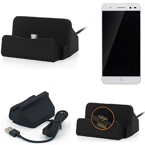 K-S-Trade Base de Carga para ZTE Blade V7 Lite Micro USB Cargador suporto estación de acomplamiento Mesa, Negro