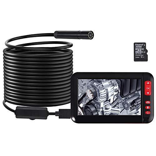Proster Digitale Industrie Endoskop Kamera 4,3 Zoll HD LCD Farbbildschirm 1080P IP67 Wasserdichte Erkennungskamera mit 8LEDs 5M Flexibles Sondenschlauch und 2000mAh Akku - Schwarz