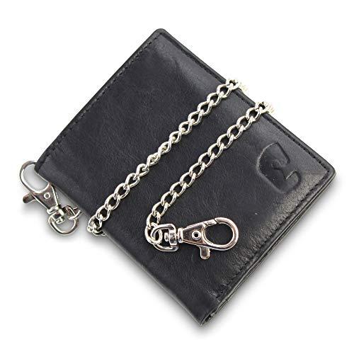 Safekeepers portemonnee leder staand formaat, Zwart met Victorinox ketting. (zwart) -