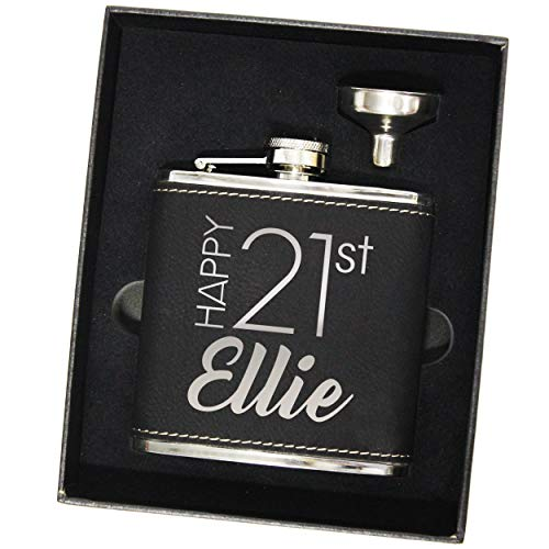 Personalized Happy Birthday Flask Set - Customized for 30th, 40th, or any Year (Black)