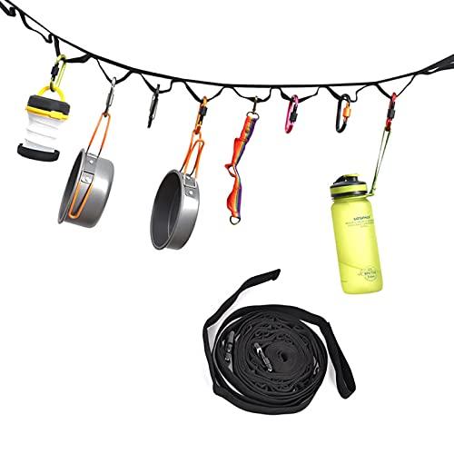 Ruiqas Cuerda de camping duradera para colgar al aire libre con 19 anillos para acampar senderismo picnic