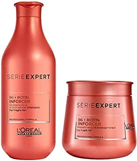 Loreal Professionnel Paris Serie Expert B6 + Biotin Inforcer Shampoo 300ml/10.14 fl oz + Masque 250ml/8.45 fl.oz Combo Pack