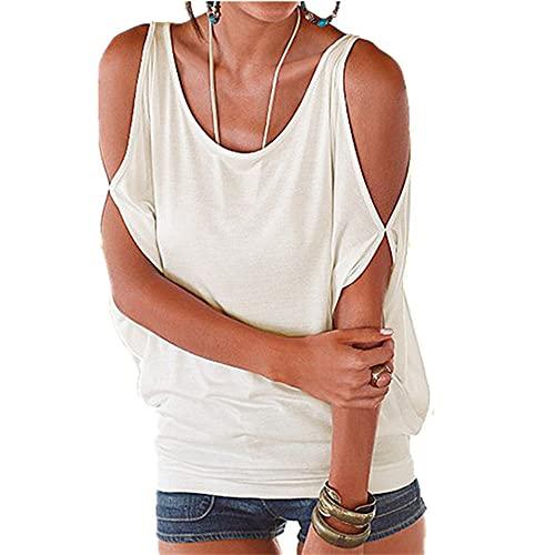 N\P Camisas de verano para mujer - Camisa sexy de manga corta con hombros descubiertos