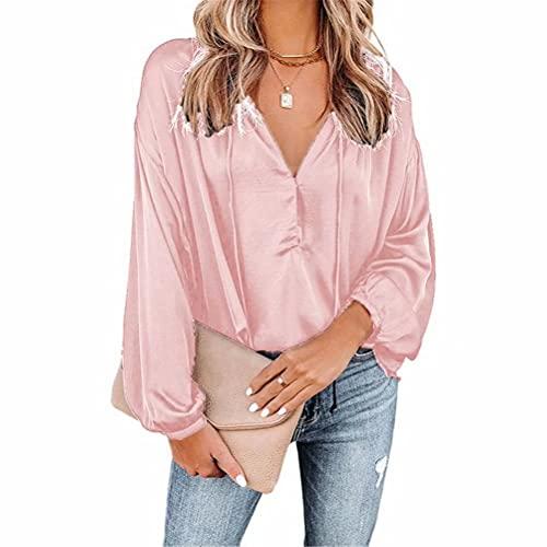 LYAZFC Women's Autumn Casual Solid Color V-Neck Flared Long-Sleeved V-Neck Shirt top Pink