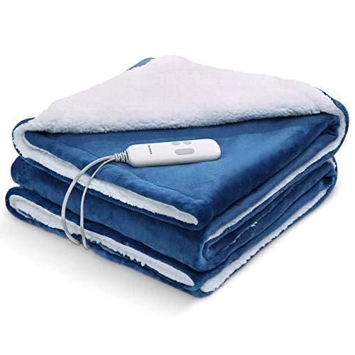 Manta con calefacción 130 * 180 cm con protección contra sobrecalentamiento eléctrico Autoextinguible Puro suave y cómodo con 6 niveles de temperatura lavable
