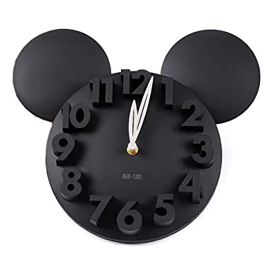 onegood Modern Design Mickey Mouse Big Digit 3D Wall Clock Home Decor Decoration (black)