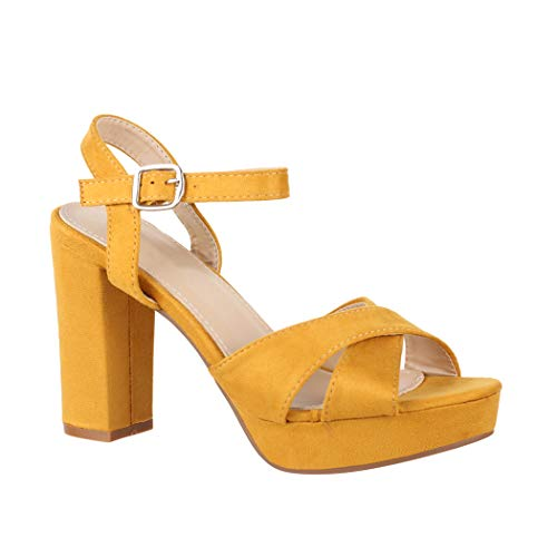 Elara Damen Pumps Bequeme Peep-Toe Pumps Trendige Plateau High Heels Chunkyrayan YL96094 Yellow-37