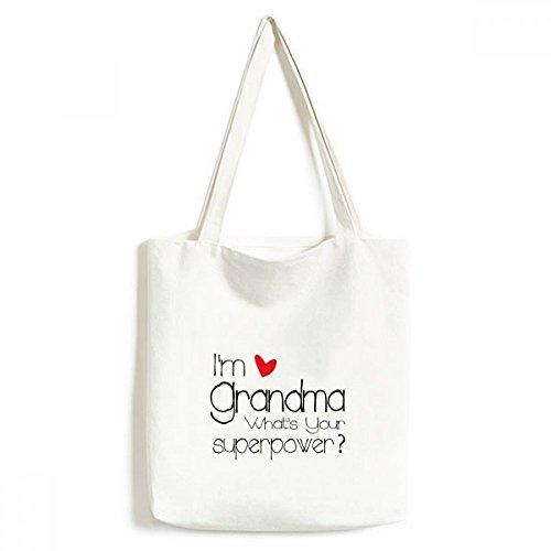 I 'm a Oma What 's Your Superpower Best Granny Modisches Design Leinwand Tasche Umweltfreundlich Tote groß Geschenk Kapazität Einkaufstaschen
