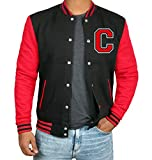 Red And Black Varsity Bomber Jacket Men | C Red sleeve | L