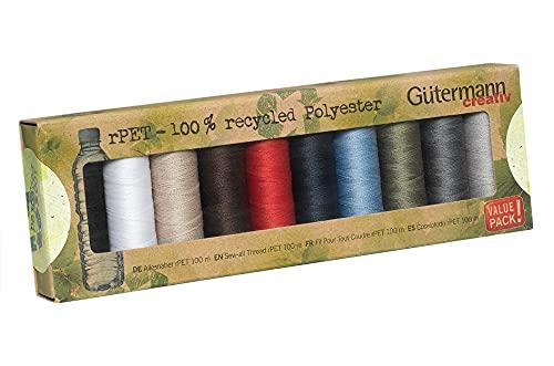 Gutermann 100% poliéster reciclado coser todo hilo 100-10 carretes de colores básicos, multicolor, talla única