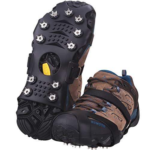 JOOLESER Crampones,Racos de Hielo Tracción Antideslizante Más de Zapatos/para 11 Tacos Nieve Hielo Grips Crampones Tacos Picos,fácil de Poner (Balck, XL)