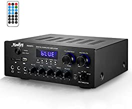 Moukey Bluetooth 5.0 Power Home Audio Amplifier - 220W Dual Channel Sound Audio Stereo Receiver System w/USB, SD, AUX, MIC in w/Echo, Radio, LED - for Home Theater Speaker via RCA, Studio Use - MAMP1