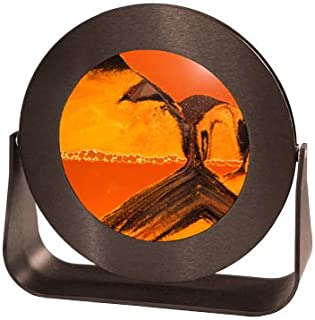 Exotic Sands Sand Picture - Small Black Metal Aluminum Circle Frame (Sunset Orange) 7 Different Sands from Around The World. Deep sea Sandscape - Hourglass - Liquid Sand Timer - Lava Lamp - Lava Lite