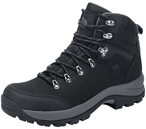 CAMEL CROWN Men's Hiking Boots Full Grain Leather Non-Slip Mid Outdoor Backpacking Trekking Trails Boots Black 10.5